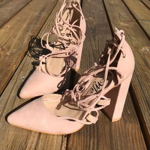 Shoes - Your Girl Blush Suede Lace-Up Heels